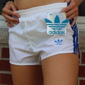 Vintage 80s Adidas Womens Lined Shorts White Blue